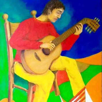 9- -Chitarrista 100x80cm l chitarrista/De guitarriste/Le guitariste