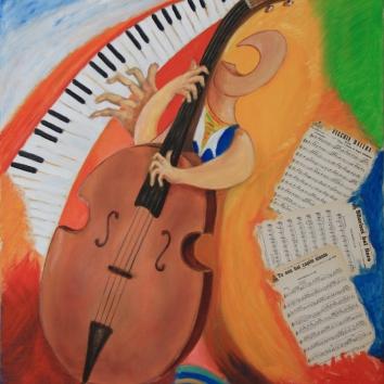 37-Contrabbassista&Piano 80x100cm