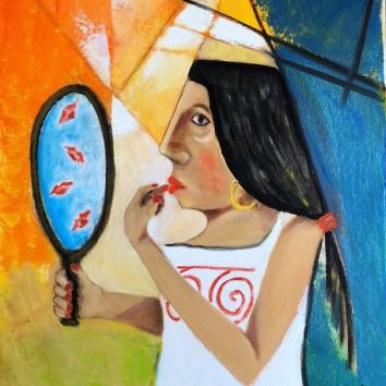 79-Donna con specchio 50x60cm