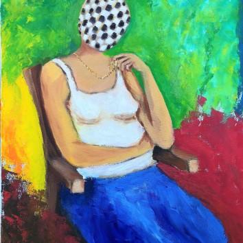 80-Donna seduta 60x60cm